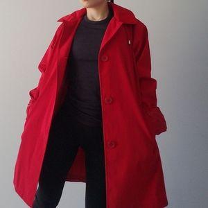 NEW London Fog Red Hood Raincoat Trench Pleat Back